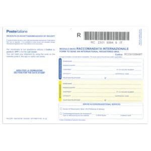 Accettazione Raccomandate Internazionale, MOD 22RI, conf. 20 pezzi