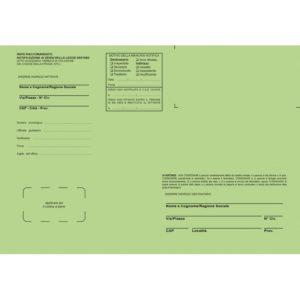 Buste verdi per notifica in proprio e Ufficiali Giudiziari, f.to 23×33 cm. Contiene gli atti senza piegarli