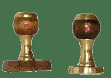 Timbro manuale in legno e ottone rotondo Ø 40 mm