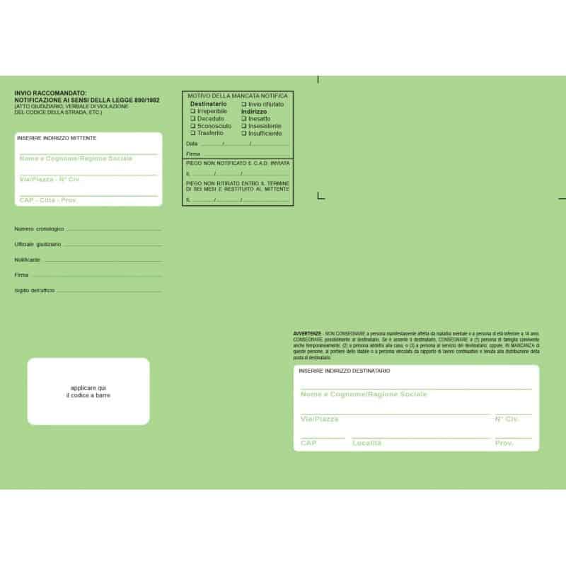 Buste verdi per notifica in proprio o tramite Ufficiali Giudiziari, f.to 19x26 cm