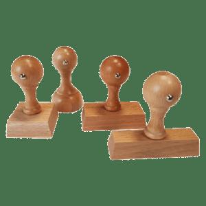 Timbro manuale in legno rettangolare 40×8 mm